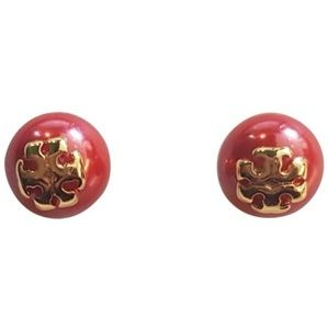 Tory Burch Red and Gold Pearl Studs Earrings
